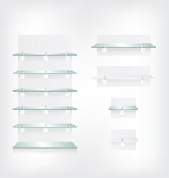 Empty shop glass shelves and wobbler vector