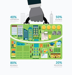 Infographic businessman hand hold business bag vector