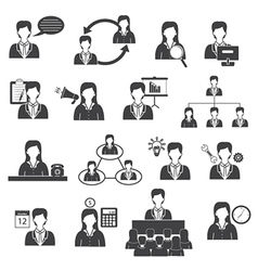Business management and organization icons set vector