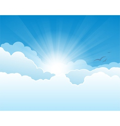 Sky with clouds and sun rays background vector