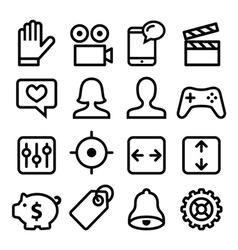 Website menu navigation line icons set vector