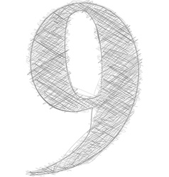 Freehand typography number 9 vector
