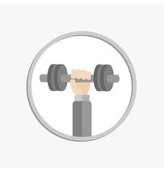Hand holding dumbell round icon sport fitness vector