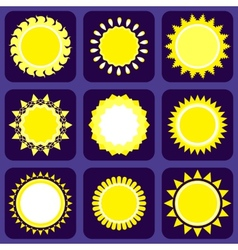 Set of nine icons with sun vector