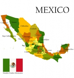Map of mexico and flag vector
