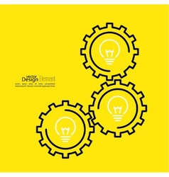 Gears symbol and bulb light vector
