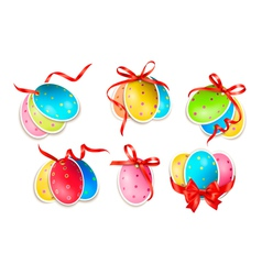 Decorative easter eggseaster cards with red bow vector