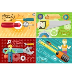 Turn-screw saw toolbox and wrench in hands vector
