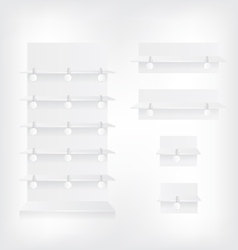 Empty white shop shelves and wobbler vector