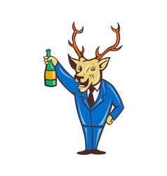 Stag deer holding champagne wine bottle vector