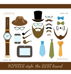Hipster accessory icons set vector
