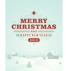 Christmas landscape retro typography and ornament vector