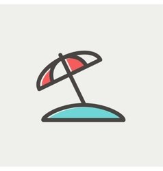 Beach umbrella thin line icon vector