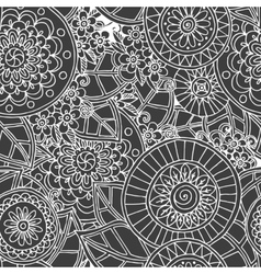 Seamless floral retro doodle black and white vector