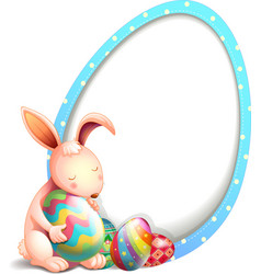 A rabbit with easter eggs beside an egg-shaped vector