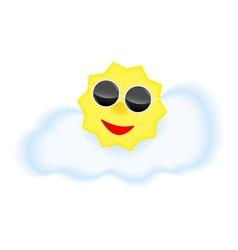 Sun with sun glasses on cloud vector