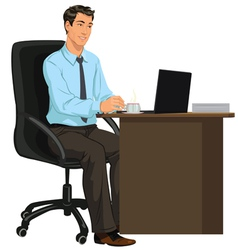 Man at the desk with laptop vector