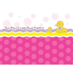 Baby shower card with duck toys vector