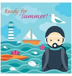 Summer sea diver in the sea vector