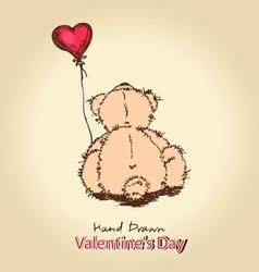 Teddy bear with red heart balloon vector