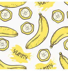 Banana with slices seamless pattern vector