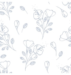 Outline flowers seamless pattern vector