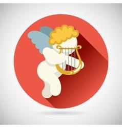 Angel cherub symbol baby boy with harp lira icon vector