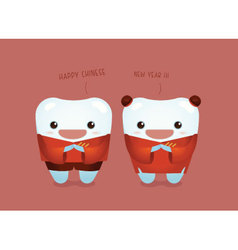 Happy chinese new year of dental vector