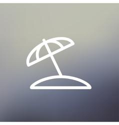 Beach umbrella thin line icon vector