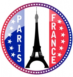 Paris and eiffel tower button vector