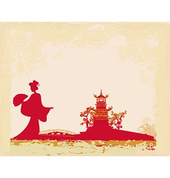 Old paper with geisha silhouette and asian vector