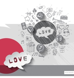 Hand drawn love icons with icons background vector