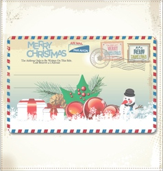 Old christmas post card vector