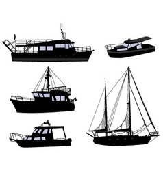 Boats silhouettes vector