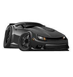 Black modern american muscle car vector