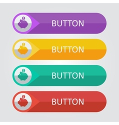 Flat buttons with piggy bank icon vector