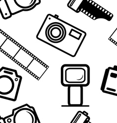 Seamless background of digital cameras tripod film vector