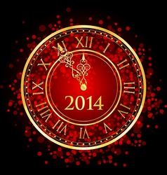 2014 new year gold clock vector