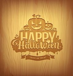 Wood carving happy halloween design vector