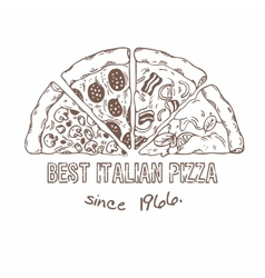 Half of pizza with different slices sketched vector