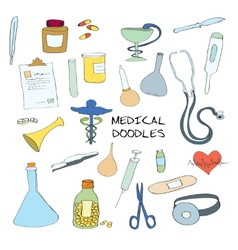 Medical symbols emblems doodle set vector