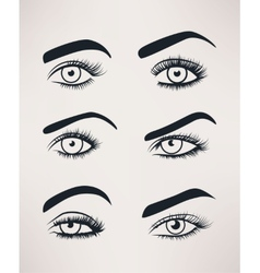 Silhouette of female eyes open different shapes vector