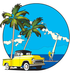 Hawaiian vignette vector