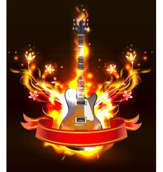 Guitar in fire flames vector