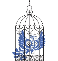 Antique bird cage with bird vector
