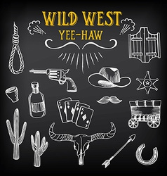 Wild west design sketch icons drawing vintage vector