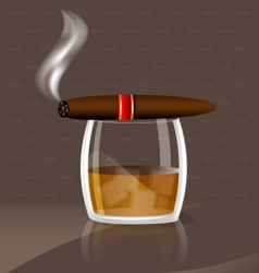 Whiskey and cigar vector