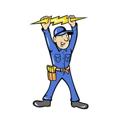 Electrician holding electric lightning bolt vector