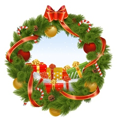 Christmas wreath with background vector
