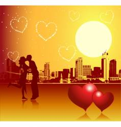 Valentine day urban scene couple vector